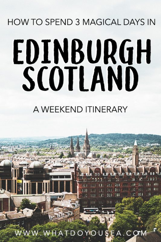 Want to see the absolute best of Edinburgh, Scotland, but only have a few days? You're in luck! In this itinerary, you will be taken through some of the best places to visit in Edinburgh along with hidden gems, stunning Instagram spots, and offbeat sites that will make your heart beat a little faster for this beautiful country. If you only have 3 days in Edinburgh, this is the perfect weekend guide! #edinburghitinerary #travelscotland