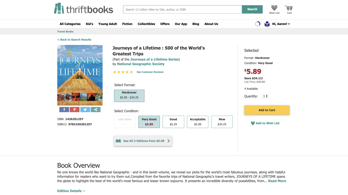 screenshot of purchasing journeys of a lifetime to find off beat travel places via thriftbooks
