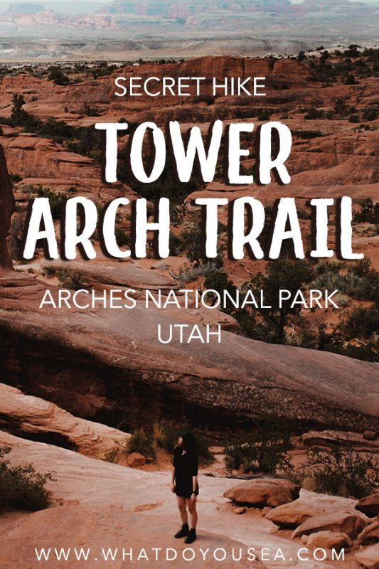 The Tower Arch Trail in Arches National Park is easily one of the most beautiful, hidden hiking trails in Utah and in the National Park. If you're looking for a hike that is off the beaten path, quiet, and offers the best atmosphere in the park, this is the hike for you. There are many incredible hikes in Utah, but this hike should go to the top of your bucket list while traveling Utah! #utah #archesnationalpark