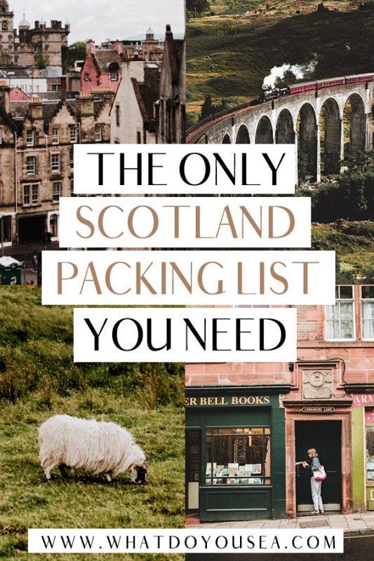 Are you traveling to Scotland for the spring or summer? Make your trip to Edinburgh, the Isle of Skye, Glasgow, and the Highlands a breeze with this complete guide on what to wear in Scotland for that classic nordic weather. Whether you're spending a week in the country or backpacking for months, this is the most up to date guide on how to dress in Scotland that will have you 100% prepared! #scotlandpackinglist