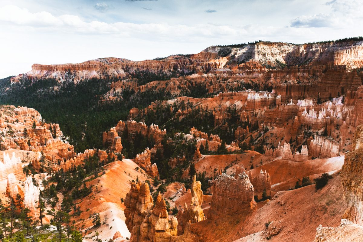 views over the Bryce Canyon Traverse hiking trail with hoodoos and pine trees