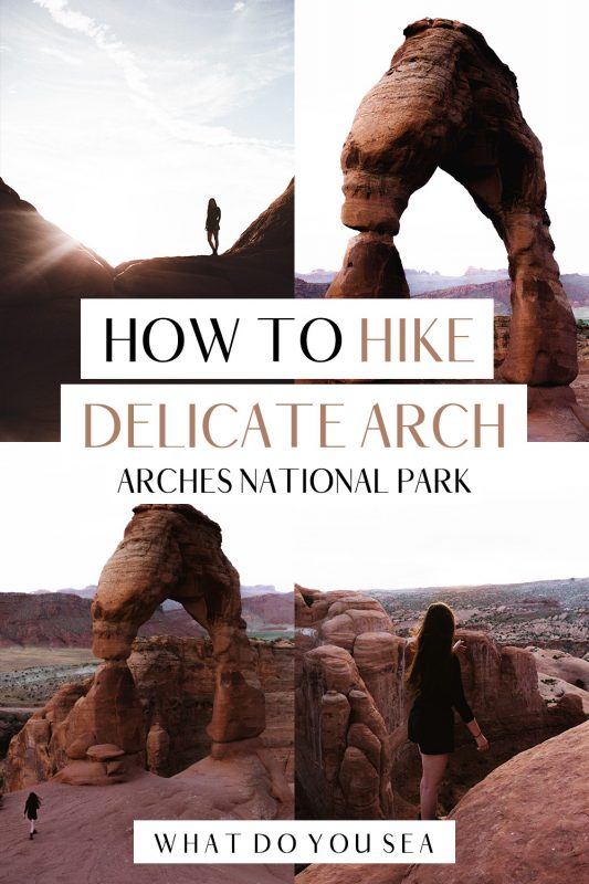 Read on for all the most up to date hiking details, trail description, hiking essentials, and tips for taking on the Delicate Arch hike in Arches National Park, Utah! This is one of the most photographed landmarks in all of Utah's National Parks! Don't miss this! #utah #nationalparks