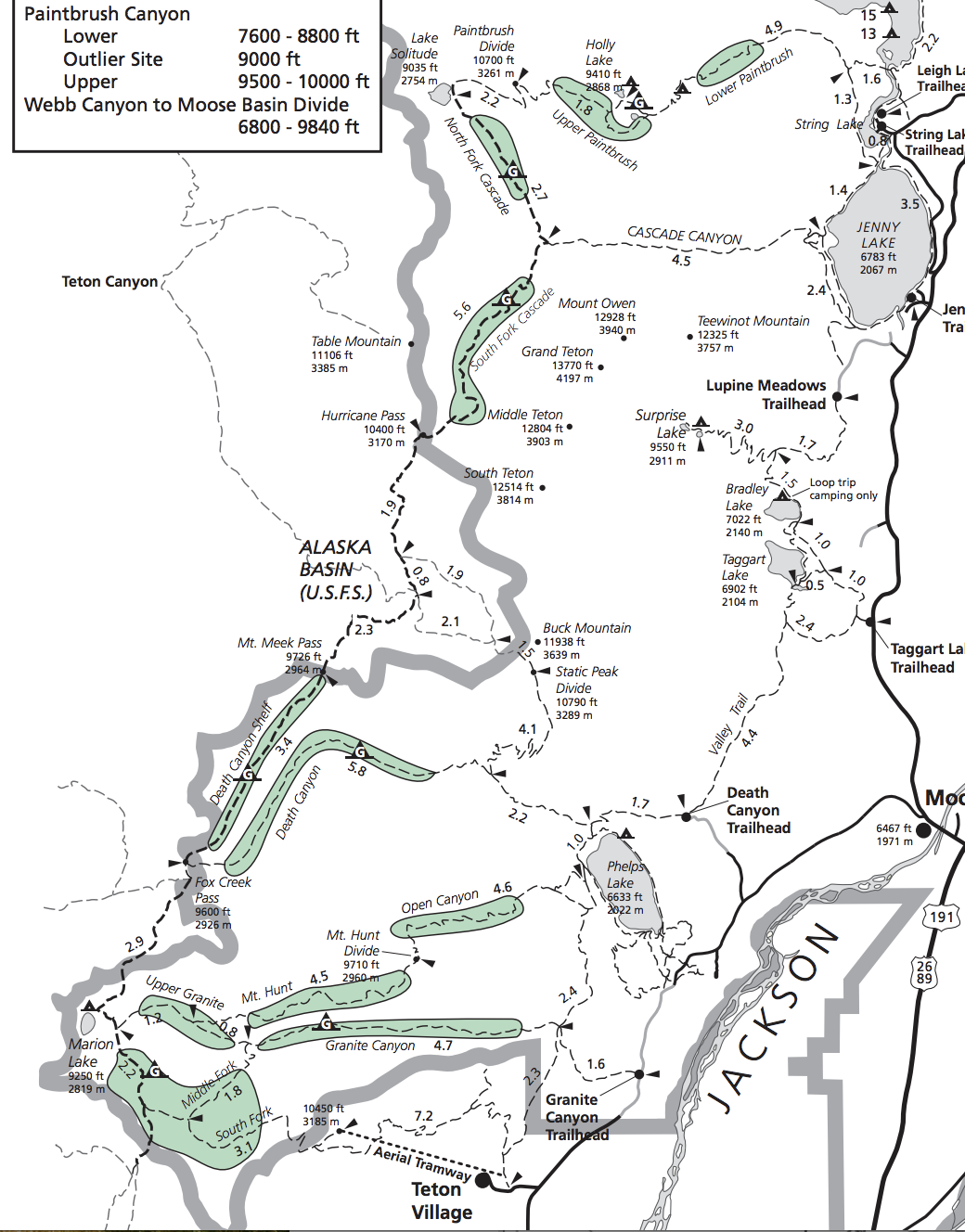 teton crest trail camping map, death canyon, death canyon shelf, fox creek pass, alaska basin, kit lake, granite canyon, north fork cascade canyon, south fork cascade canyon, holly lake, sunset lake, marion lake, upper paintbrush,